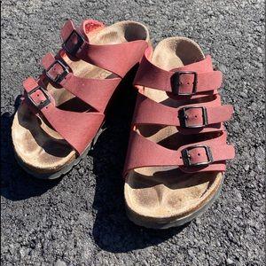 Like new red Birkenstock sandals. Size 36